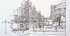 Urban Sketchers: Simone Ridyard. St. Peter's Square, Manchester