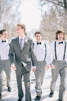 ♡ White #winter #wedding #Groom & groomsmen ... For wedding ideas, plus how to organise an entire wedding, within any budget ... https://itunes.apple.com/us/app/the-gold-wedding-planner/id498112599?ls=1=8 ♥ THE GOLD WEDDING PLANNER iPhone App ♥  For more wedding inspiration http://pinterest.com/groomsandbrides/boards/ photo pinned with love & light, to help you plan your wedding easily ♡