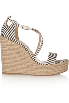 Tabitha Simmons | Jenny striped silk espadrille wedge sandals | NET-A-PORTER.COM