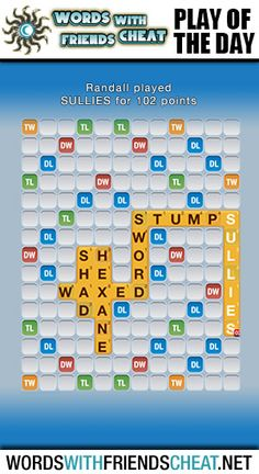 Sequester combined a lax play by her opponent with the perfect letters to hook the word WEAVER and drop RAZEED all the way down the board to the Triple Word score. She hit the Triple Letter tile with the Z, which blew the play up to a hefty 121 points. Words With Friends, Word Play, Sully, All The Way Down, Cheating, Letters, Day, Tile