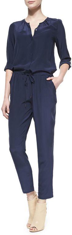 Joie Keyaan Tab-Sleeve Silk Jumpsuit