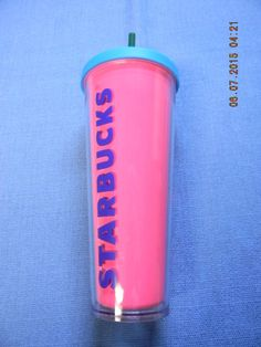 Starbucks Refresher Plastic Cold Cup Pink Tumbler with Blue Lid 24oz NWT #Starbucks