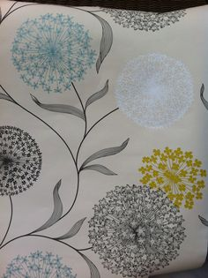 Living room wall paper blue mustard and grey. B&Q