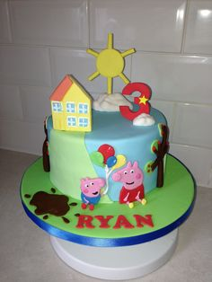 One tier peppa pig cake