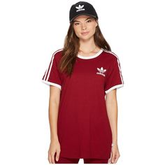 adidas Originals 3-Stripes Tee (Collegiate Burgundy) Women's Short... ($30) ❤ liked on Polyvore featuring tops, t-shirts, short sleeve graphic tees, short sleeve tee, collegiate t shirts, crew neck t shirt and graphic tees