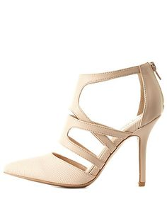 Strappy Snake-Textured Pointed Pumps