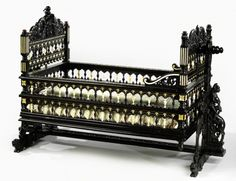 Baroque cradle from the island of Sri Lanka,formerly Ceylon,under Dutch rule in the Seventeen Century made for a Dutch family,constructed from ebony and ivory (second half of century ) at The Rijksmuseum,Amsterdam Victorian Furniture, Old Furniture, Baby Furniture, Unique Furniture, Vintage Furniture, Furniture Design, Cradles And Bassinets, Baby Cradles, Antique Nursery