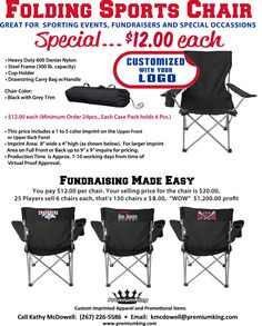 Fundraiser Idea - Folding sports chairs with team logo