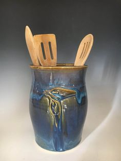 Blue Handmade Pottery Vase, with Hand sculpted Calla Lilies, Unique Ceramic Utensil Jar, Pottery Spoon Crock. by ClayByNaturePottery on Etsy