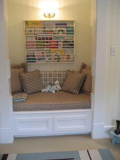 "reading nook in a closet....We have the perfect ""junk"" closet for this next DIY project!"