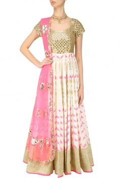 Abhinav Mishra Ivory and Pink Bird Block Print Embroidered Anarkali Set #happyshopping #shopnow #ppus