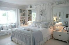 Baby blue and white bedroom