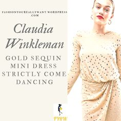 fca825f4a45b Claudia Winkleman Gold Sequin Mini Dress Strictly Come Dancing Week 5  Results Show 2018