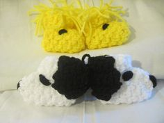 A Dog and His Best Friend (Snoopy and Woodstock) Crocheted Character  Baby Booties, slippers Newborn Size. $14.50, via Etsy.
