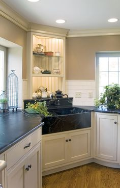 Exciting Soapstone Countertops For Elegant Kitchen Design: Modern Kitchen Design With Soapstone Countertops And Kitchen Sink Faucet Plus Ceiling Lights