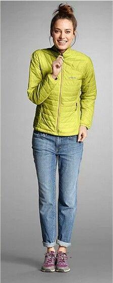 Eddie Bauer - faded boyfriend jeans, light down jacket, walking/hiking shoes.