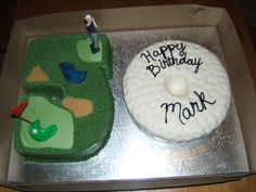 50th birthday golf theme - I made this for the owner of my mom's workplace. The #5 cake was a chocolate WASC with canolli filling and vanilla buttercream and the #0 cake was a White cake with raspberry mousse filling covered in MMF.  I found a picture online of a similar cake and used that as my inspiration. Forgive me for not remembering if the photo was from cakecentral. If it was, thank you to the original creator for the inspiration!! I believe the photo was from a rebascakes....??