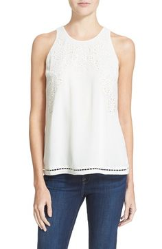 Joie 'Perdue' Eyelet Silk Tank available at #Nordstrom