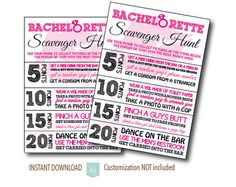 Bachelorette Party Scavenger Hunt Game- Surrounded by your best girls, complete the list for points. The one with the most points, wins! Click through for more styles, matching invites, and more party decor. Or shop our 800+ designs for all of life's journeys: graduations, new babies, birthdays, bridal showers, and more. Only at Aesthetic Journeys