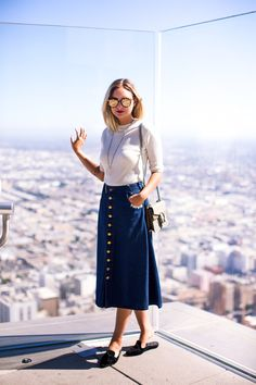 Sweater: late afternoon blogger shoes jewels sunglasses bag white top long sleeves denim skirt maxi