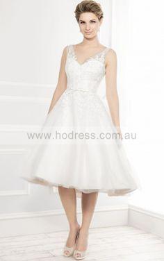 Buttons Tea-length Ball Gown Natural V-neck,Shoulder Straps Wedding Dresses hgdf1002--Hodress