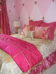 Love the pink accent wall design