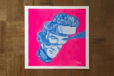 2 colour risograph print by Kristal Melson, titled 'Elvis'. Printed by: Knuckles & Notch Graphic Design Print, Graphic Design Inspiration, Design Art, Wedding Tattoos, Art Portfolio, Animal Quotes, Interactive Design, Graphic Illustration, Design Resume