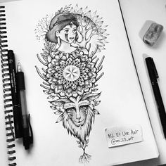 Princess Mononoke Mandala tattoo commission on Behance Princess Mononoke Tattoo, Miyazaki Tattoo, Studio Ghibli Tattoo, Creepy Art, Body Art Tattoos, Sleeve Tattoos, Mandala Tattoo, Tattoo Sketches, Totoro