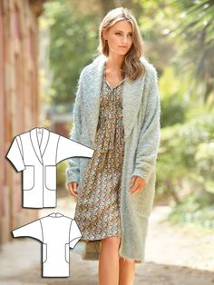 This warm and comfortable wrap is also stylish. The open front coat is sewn with a captivating bouclé knit and includes highlight features such as the shawl collar and oversize XXL pockets. It is unlined for a look that is ideal for the cooler temperatures of autumn.