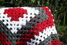 Crochet White Grey and Red Granny Square Baby Blanket Baby Shower Gift by JennisCrochet