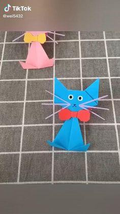 Instruções Origami, Origami Videos, Kids Origami, Easy Paper Crafts, Paper Crafts Origami, Fun Crafts, Crafts For Kids, Birthday Card Drawing, Flower Drawing Tutorials