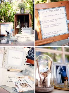 wedding guest book idea, have your guest sign fabric squares with a fabric pen and then sew them all together later!! :D