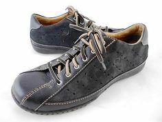 Womens BORN Athletic Shoes Black Leather Lace-up Dress Sneakers sz US 8.5 EU 40