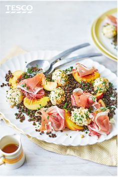 This Italian-inspired salad recipe, packed with lentils, Parma ham, peach and hazelnut-crumbed cheese balls, can be on the table in just 15 minutes and makes a great midweek dinner idea.