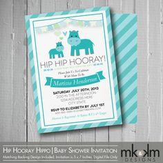 Hip Hip Hooray Baby Shower Invitation  Hippo Baby by MKKMDesigns, $6.00