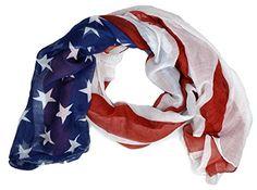 "Women Long Soft USA Flag Print Chiffon Star Scarf. Meterials:Chiffon. Size about 64.5"" long,37"" wide. Blue USA Flag Print scarfs for ladies girls."