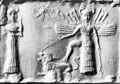 """Ishtar / Inanna e Tammuz-Ishtar was the daughter of Ninurta.She was particularly worshipped in northern Mesopotamia, at the Assyrian cities of Nineveh, Ashur and Arbela   Besides the lions on her gate, her symbol is an eight-pointed star.  One type of depiction of Ishtar/Inanna   The lion was her symbol (detail of the Ishtar Gate)In the Babylonian pantheon, she """"was the divine personification of the planet Venus"""