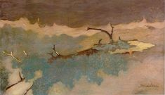 Liggende boomstronk in water; Jan Mankes ( 1889 - 1920 )