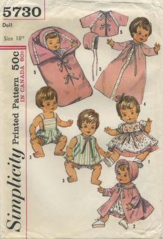 Vintage Doll Clothes Sewing Pattern | Doll Wardrobe Suitable for such baby dolls as Betsy Wetsy*, Ginny Baby, Sweetie Pie, Baby Winkie, and Twinkie | Simplicity 5730 | Year 1964 | Size 18"