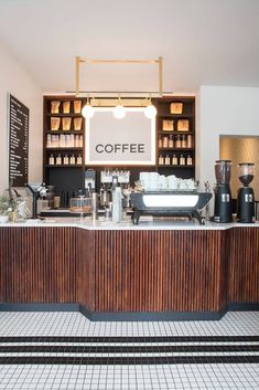 wear this there: nickel & diner. / sfgirlbybay - coffee bar at nickel & diner in nyc. Coffee Shop Counter, Cafe Counter, Coffee Shop Bar, Coffee Shop Design, Cafe Design, Coffee Coffee, Coffee Beans, Restaurant Counter, Coffee Americano