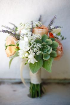 Peonies and succulents with lavender and lamb's ear bouquet