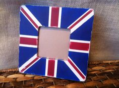 UNION JACK Picture Frame- Hand Painted and Distressed Frame
