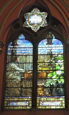 St. Augustine: Tiffany window in sanctuary of Church of the Covenant, Boston, MA. Designed by chief Studio artist, Fredrick Wilson.