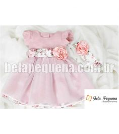 Vestido Infantil de Festa Floral com saia de organza sobreposta