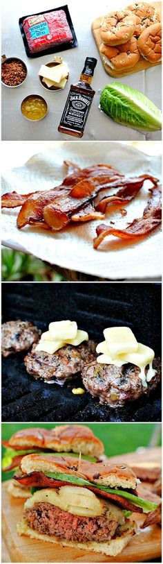 Grilled Bourbon #Bacon Burgers