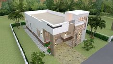 House Plans with 3 Bedrooms Terrace RoofThe House has:-Car Parking and garden-Living room,-Dining Bedrooms, 2 bathrooms