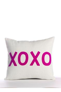 """4 letters that pack so much punch and transcend language. Recycled polyester fill insert included.    Measures: 10"""" x 14""""   Xoxo Pillow by Alexandra Ferguson. Home & Gifts - Home Decor - Pillows & Throws Westchester County, New York"""