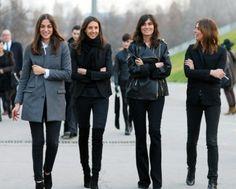 The French Vogue team, Capucine Safyurtlu, Geraldine Saglio, Emmanuelle Alt, and Claire Dhelens strut the streets of Paris.
