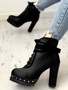 Black ankle boots with high heels and rivet embellishment - want! This is an affiliate pin, so please be aware that if you click through and make a purchase I may receive a small commission to help fund my chocolate/wool/Lego habit! Black High Heels, Black Ankle Boots, High Heel Boots, Heeled Boots, Shoe Boots, Women's Shoes, Gladiator Boots, Dress Boots, Calf Boots