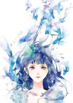 watercolor illustration 蓝染-清茗_原创,水彩,少女,小清新,拟水彩_涂鸦王国插画